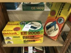 4 Philips (German) electronic sets, EE2006, 1 still sealed inside, 1 missing a few items,