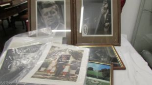 J F Kennedy photographs, some framed and glazed including memorial.