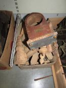 A box of wooden spindles etc.
