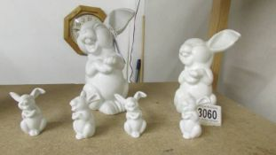 A Rosenthal 6 piece bunny family