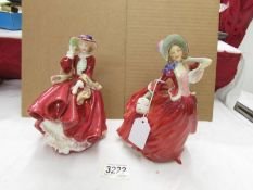 2 Royal Doulton figurines, Top o' the Hill HN1834 and Autumn Breezes HN1934, Reg. No. 835666.