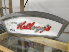 An aluminium Kellogg's shop display cabinet advertising sign.