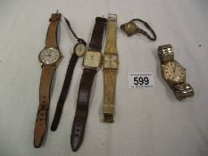 6 old wrist watches including Accurist, Lorus etc.