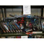 A shelf of X Files videos.