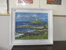 Cornish school Signed oil on board painting of Godrevy lighthouse St Ives circa 1970s by Truro