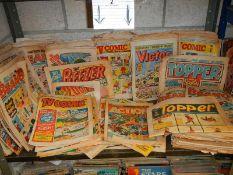 One shelf of old comics including Topper, Victor, Beano, TV Comic, Beezer etc.