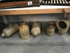 A Ridgway brass Cardiff stoneware flagon & 4 other items