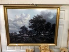 A gilt framed forest scene