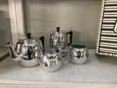 A vintage Towerbrite stainless Balmoral tea set,
