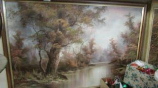 An oil on canvas rural scene.