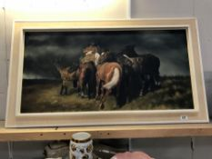 A large 1970's framed oil on canvas of horses huddling through the storm