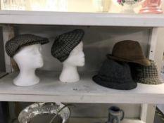 3 Trilby & 2 flat cap hats