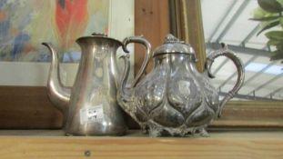 2 silver plate tea pots.