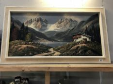 A large 1970's framed layered oil on canvas alpine scene
