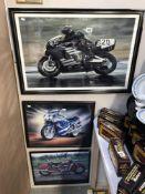 3 framed motorcycle prints