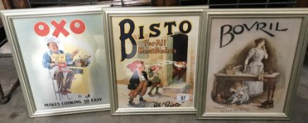 3 framed & glazed adverts including OXO,