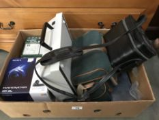An assortment of items including video camera/ handy cams & typewriter etc.