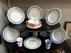 A quantity of Wedgwood items including 6 embossed Queensware soup bowls etc.