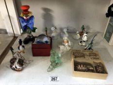 A quantity of small glass items, curios etc.