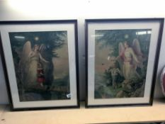 2 framed & glazed rare and unusual religious prints of Guardian Angels - one protecting a boy and a