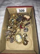 12 pairs of clip on earrings, 7 pairs of pendant earrings,