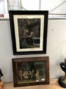 2 old framed & glazed prints, 2 men outside a tavern & Georgian gentleman in discussion.