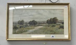 A framed & glazed countryside scene by George Oyston
