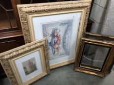 A large picture & medium sized picture in gilt frames & 2 gilt picture frames