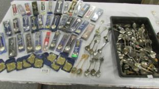 Approximately 100 collector's souvenir spoons (35 boxed) and 11 RAC Lincoln area medallions for