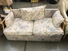 A cane sofa.