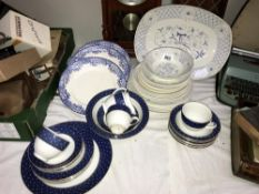 A quantity of blue and white china