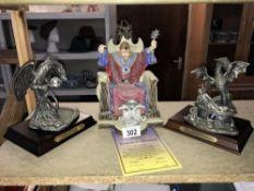 A Tudor mint spellbound figure & 2 pewter dragon figures
