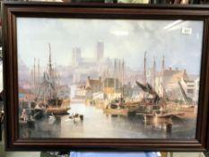 A framed and glazed print harbour scene signed W Carmichael, 1851.