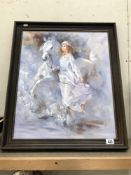An oil on canvas of a woman with horse, signed Robert Y.