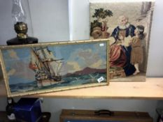 2 good framed & glazed embroidery pictures 'Good morning' & 'sailing ship' & 1 other