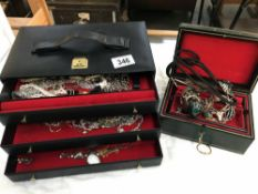 2 jewellery boxes & contents