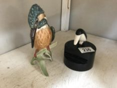 A Goebel Kingfisher & a novelty bird tooth pick holder