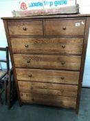 An oak 2 over 5 chest of drawers ****Condition report**** Height 126cm. Width 87.