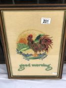 A framed tapestry of a cockerel ****Condition report**** Modern frame with some