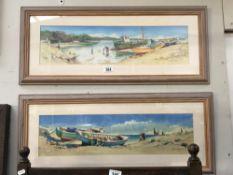 2 'Happy days' framed & glazed seaside prints,