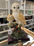 An owl figure with chick