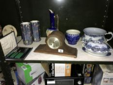 A quantity of pottery including Victorian, Doulton vase & Napoleon hat clock etc.