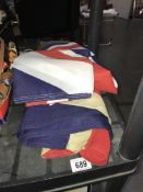 A quantity of old and modern flags ****Condition report**** These are in used