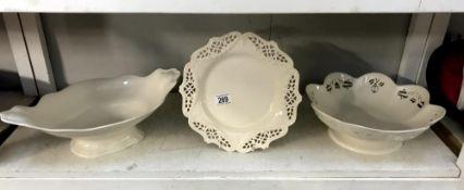 2 large cream ware bowls a cream ware plate
