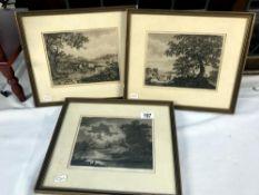 3 framed & glazed antiquarian prints after works by L.