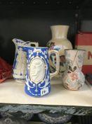 2 jasper style jugs 7 2 vases