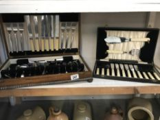 An Edwardian oak cased canteen of cutlery (incomplete) & 1 other
