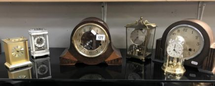 A collection of clocks including Westminster chime & Schatz 400 etc.