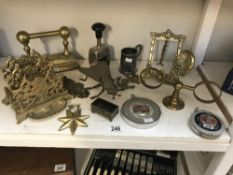 A selection of brass ware etc. Including letter racks & tape measures etc.
