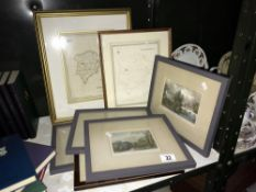 2 framed & glazed maps of Rutlandshire & 5 framed & glazed Stately Home prints